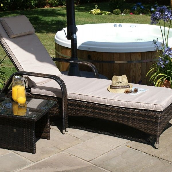 maze rattan florida sunbed with side table garden furniture set brown