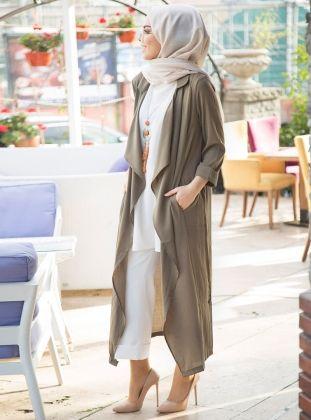 Khaki - Unlined - Shawl Collar - Topcoat - İnşirah
