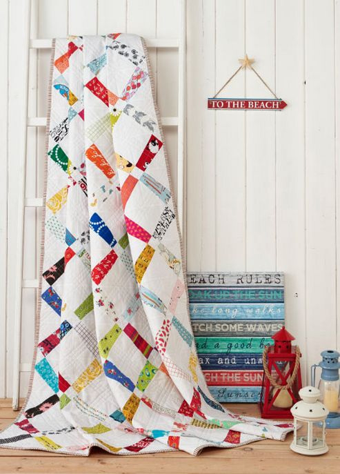Colored sashing with white blocks