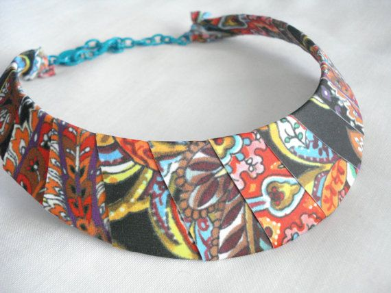 Bib statement necklace Ethnic jewelry Fabric jewelry by Poppyg