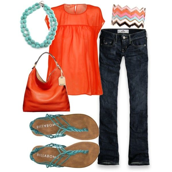 orange and teal: Shoes, Summer Outfit, Style, Color Combos, Shirts, Orange And Turquoise, Color Combinations, Sandals, Dark Jeans