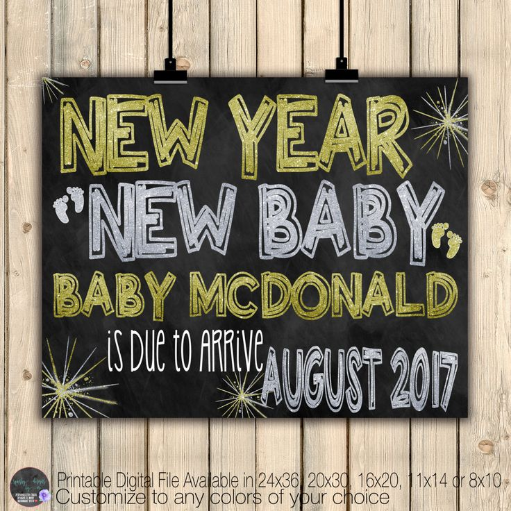 New Years Pregnancy Announcement Sign, Chalkboard Baby Poster, New Year New Baby Reveal, Silver Gold, Best Year Ever, Holiday Card, Digital by SquishyDesignsbyMe on Etsy