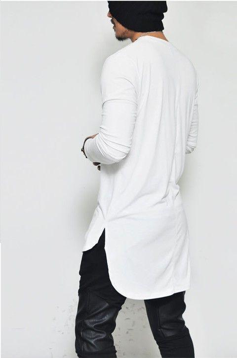 LOJA HDR https://www.lojahdr.com.br  Camiseta swag alongada branca manga longa longline oversized LOJA HDR