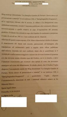 LA FAMIGLIA GANDINI DI FERRARA. STORIA ATROCE DI PERSECUZIONE E OMERTA'! di Alessandra Gandini: IL VETERINARO MARCO MARZOLA SI E' COSTITUITO PARTE...