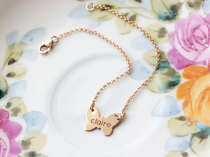 Engraved butterfly bracelet custom butterfly