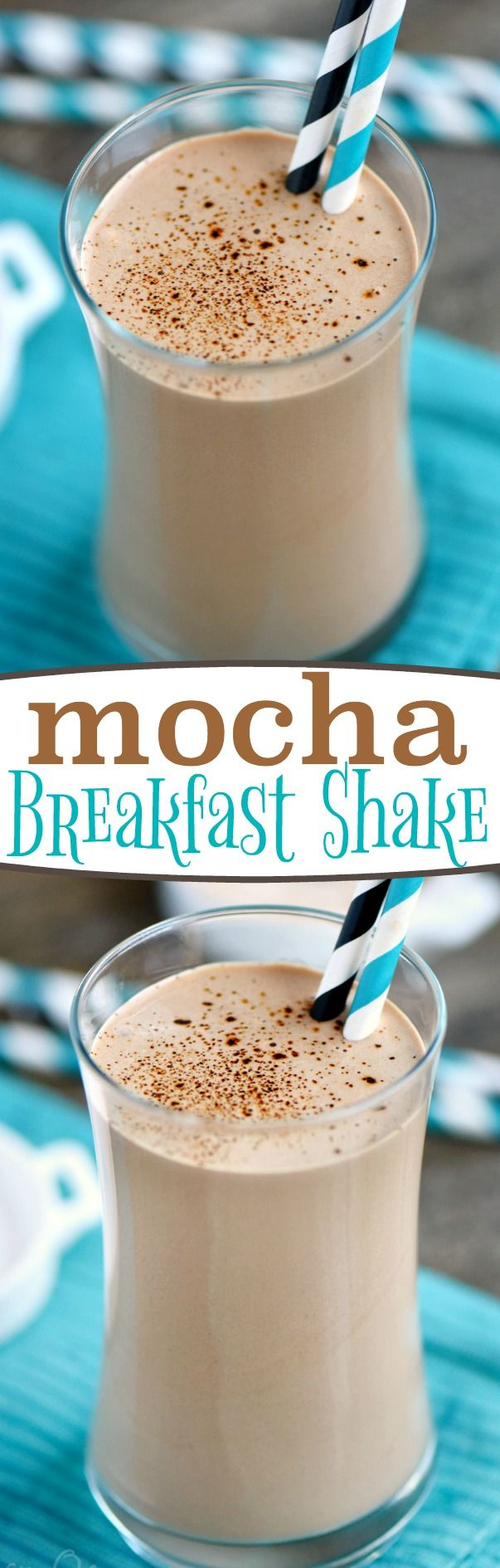 This delicious Mocha Breakfast Shake is made with Greek yogurt for a wake-me-up, protein-packed breakfast! For those mornings when only coffee AND chocolate will do! // Mom On Timeout: