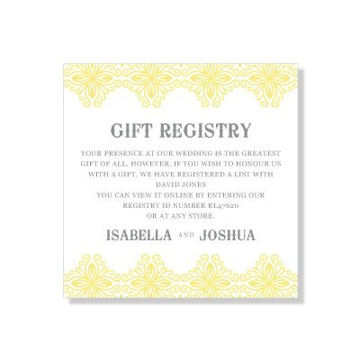 Wedding Registry Gift Cards Only :  Gift Registry - Pollyanna - Stationery - Gift Registry - Wedding ...