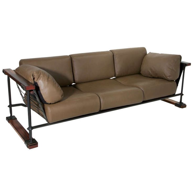 Rare Black Iron, Oak U0026 Olive Green Leather Sofa By Cleo Baldon