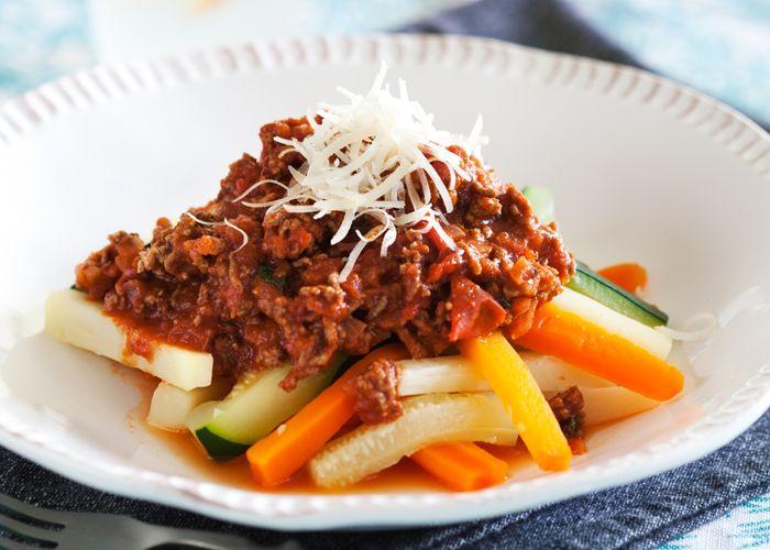 Köttfärssås med grönsakspasta