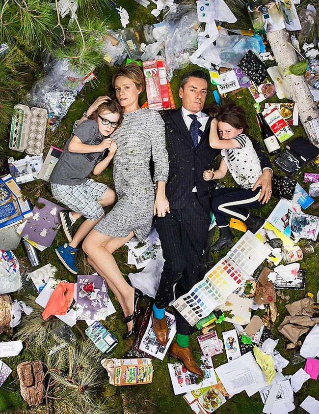 Artist photographs families lying in the garbage they generate in one week : TreeHugger