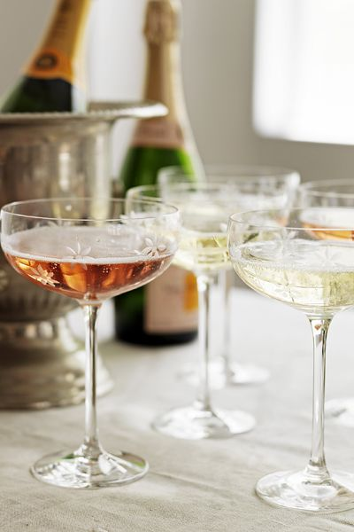 Champagne saucers and Veuve Clicquot Rose. Don't know if these are vintage, but they are so pretty & delicate.