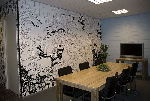 Awesome wall mural anime black and white art for Black wall mural