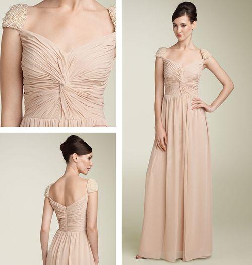 Capped Sleeve Bridesmaid Dress - Nude