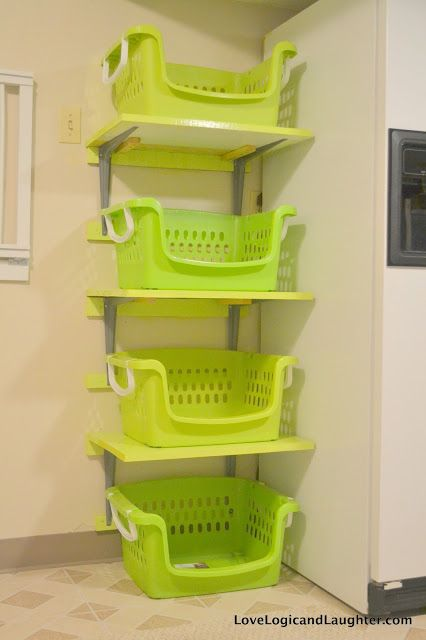 Shelves for Laundry Baskets - diy
