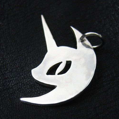 Silver Nightmare Moon pendant by TheSunkenCity on Etsy