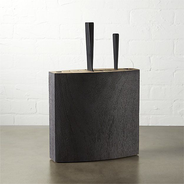 Shop Black Knife Block.   Architectural storage block is cleverly crafted for space-saving and function.  Dark mango wood features six slots: two short, two medium, two long plus an opening for kitchen shears and sharpening rod.
