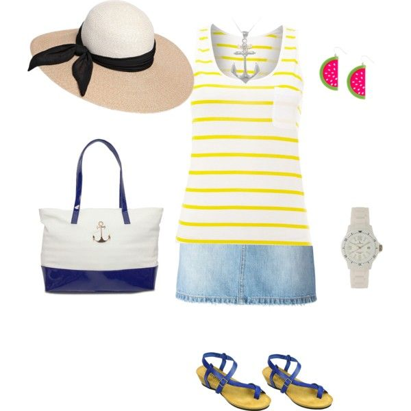 beach by tsurumi-mai on Polyvore featuring ファッション, Barbour, MARC BY MARC JACOBS, Lauren Ralph Lauren, Carolina Glamour Collection and Eugenia Kim