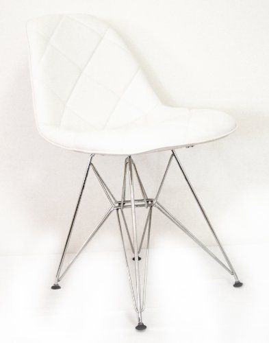Midcentury Modern Control Brand Mid Century Padded Dining Chair with Chrome Legs, White
