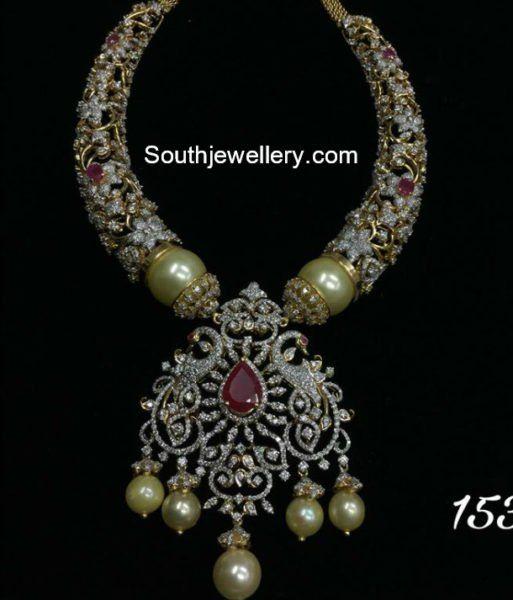 Diamond Necklace with Peacock Pendant photo