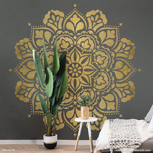 New Ananda Mandala Wall Mural Stencil In 2020 Mural Stencil