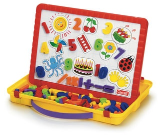 64 piece set includes 48 magnetic numbers, 10 magnetized cards, dry-erase marker, eraser, easels and a functional carry case. Magnetic board locks on top and set becomes a carry case.