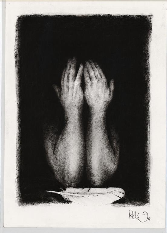 """Saatchi Online Artist: Pete Codling; Charcoal, 2011, Drawing """"Message"""""""