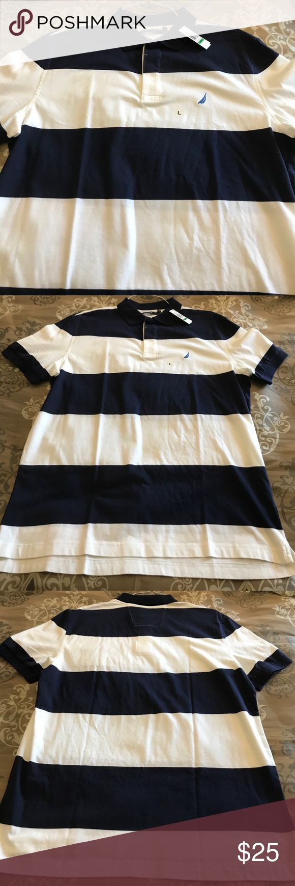 NWT 💗 Men's Nautica polo shirt This shirt sleeve men's polo shirt is brand new!  It has navy/white stripes and is a size large. Thanks for checking out my closet! Nautica Shirts Polos