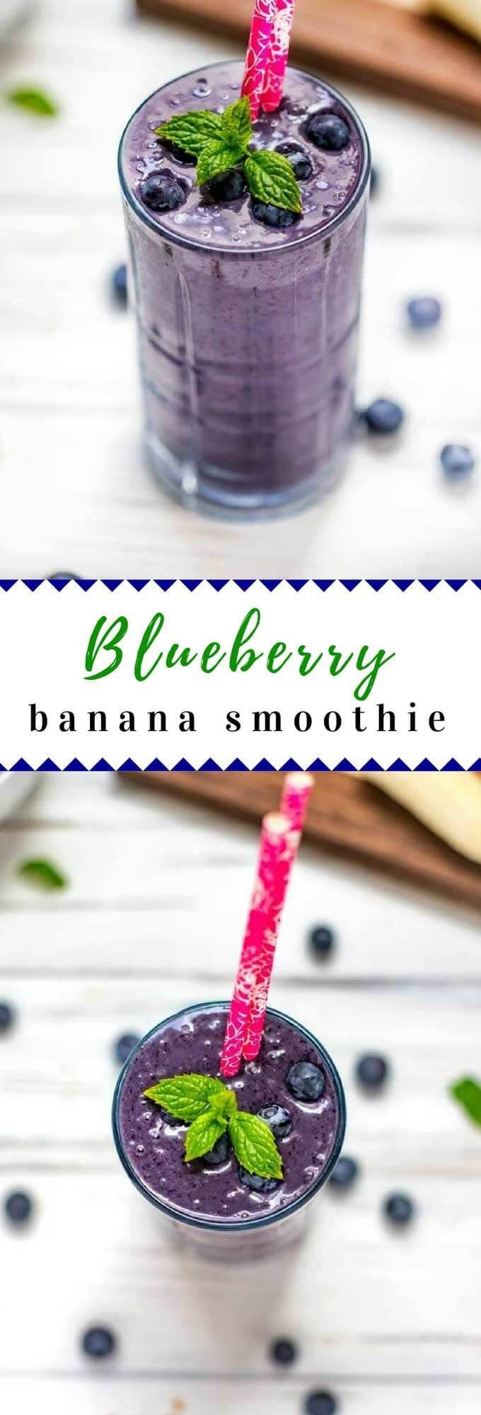 This Blueberry Banana Smoothie without yogurt is a great way way to start your day!  With almond milk and vegan protein powder, this dairy free smoothie is one even the kids will love!  #vegan #smoothie #glutenfree #dairyfree via @wendypolisi