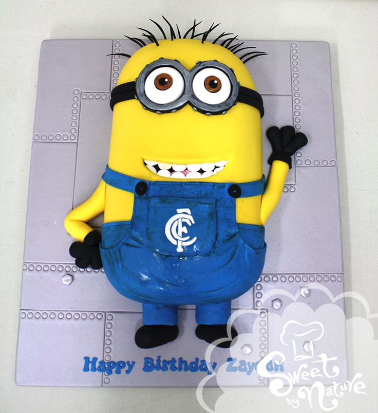 Zaydan's birthday cake was a minion complete with goggles and overalls featuring the Carlton Football Club logo. The flavour was chocolate mud cake with a chocolate ganache filling. Happy birthday Zaydan!!
