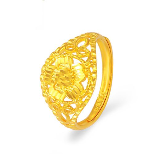 Pure 999 24K Yellow Gold Women's Lucky Flower Band Ring
