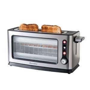 """Tostador de pan Domoclip DOD106 premium - cristal - Tostadora de pan en aluminio anodizado, con vidrio transparente, para todo tipo de pan. Capacidad para 1 tostada grande o 2 individuales. Función descongelar, recalentar, tostar una sola cara del pan con termostato regulable y función de cancelación de ciclo de tostado, luz piloto luminosa de puesta en marcha o conexión a la red. Bandeja recoge migas y cristal de protección extraíbles para una fácil limpieza. Paredes de """"toque frío""""…"""