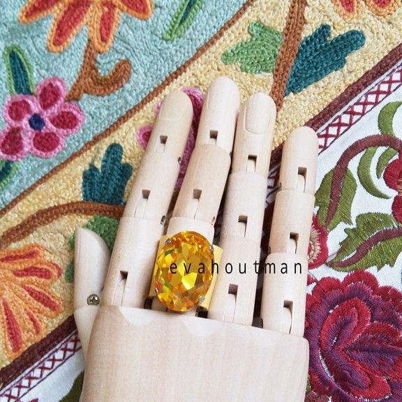 #forsale .... #handmade #ring #yellow #clear #crystal with #syntheticleather #fashion #accessories #fashionthings #onlineshop