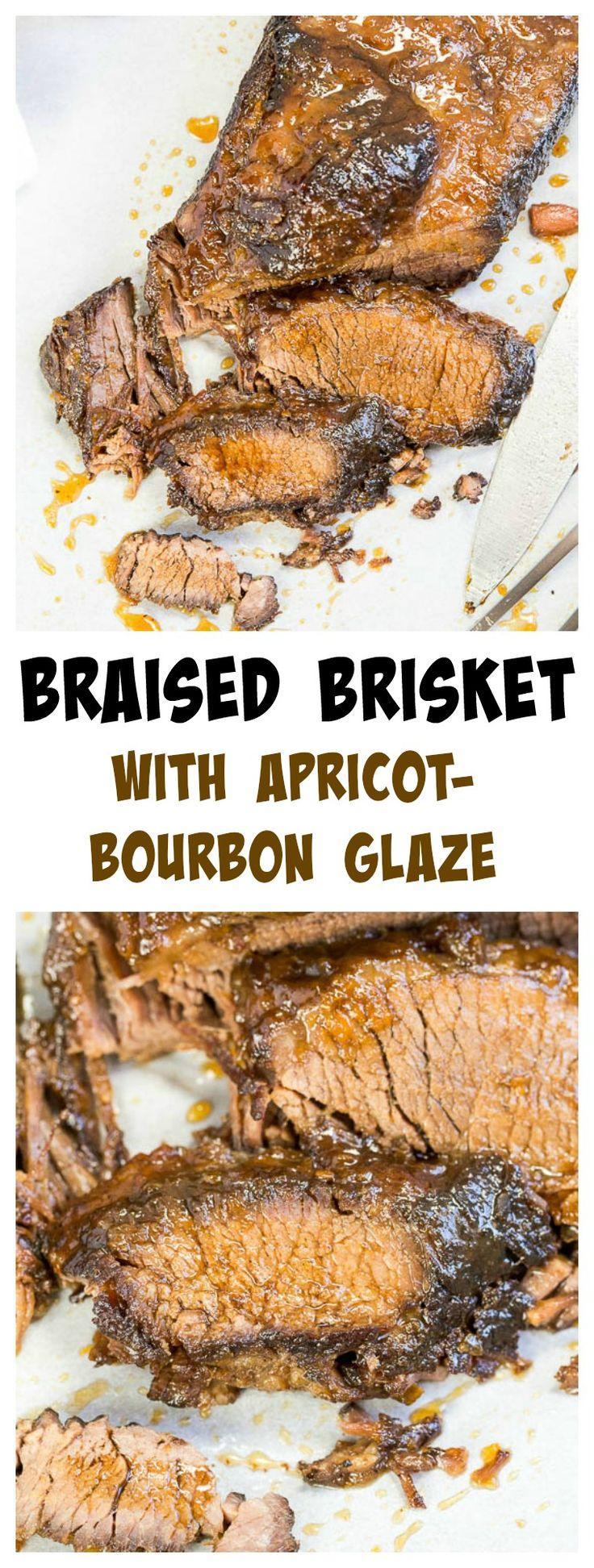 Braised Brisket with Apricot-Bourbon Glaze
