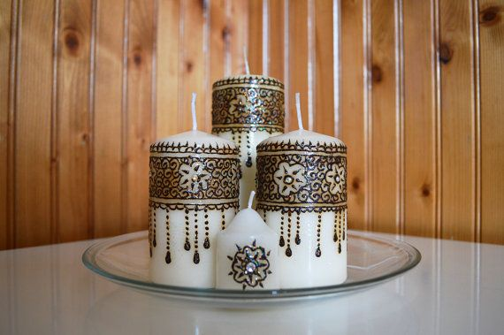 Decorative, Unique hand crafted henna candle made from decorative henna elements and swarovski elements that makes this product a showpiece for any