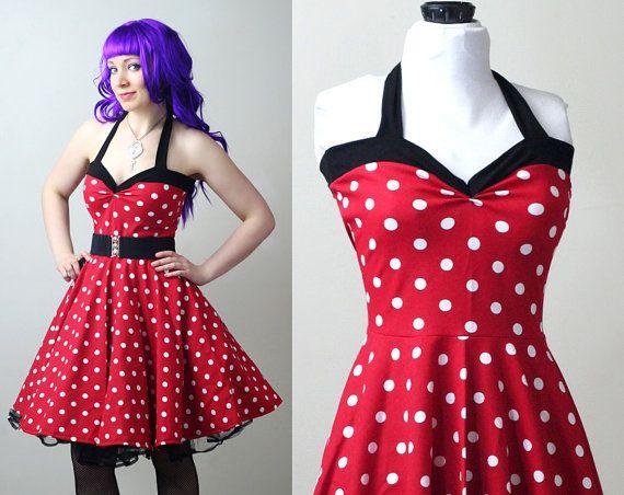 polka dot retro rockabilly Yvonne swing dress by smarmyclothes