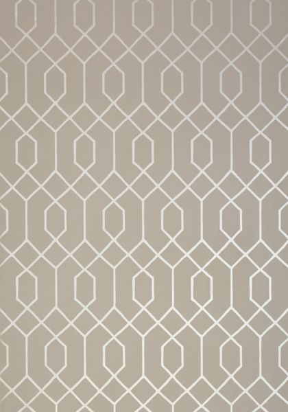 La Farge #wallpaper in #metallic #pewter on #taupe from the Graphic Resource collection. #Thibaut