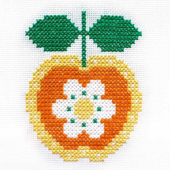 Retro Apple Flower Cross-Stitch Pattern by Hollie Harris