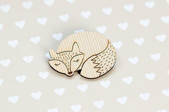 Wooden brooch Fox Laser cut pin pin with fox