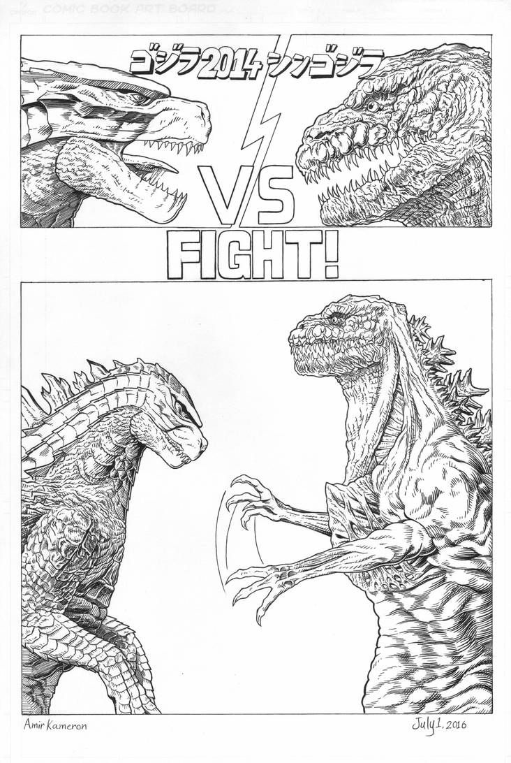Godzilla 2014 Vs Shin Godzilla Mini Comic By Amirkameron Godzilla Funny Godzilla 2014 Godzilla