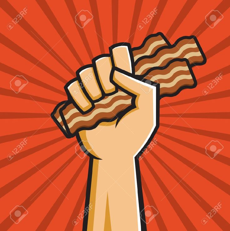 Vector - Vector Illustration of a fist holding bacon in the style of Russian Constructivist propaganda posters.
