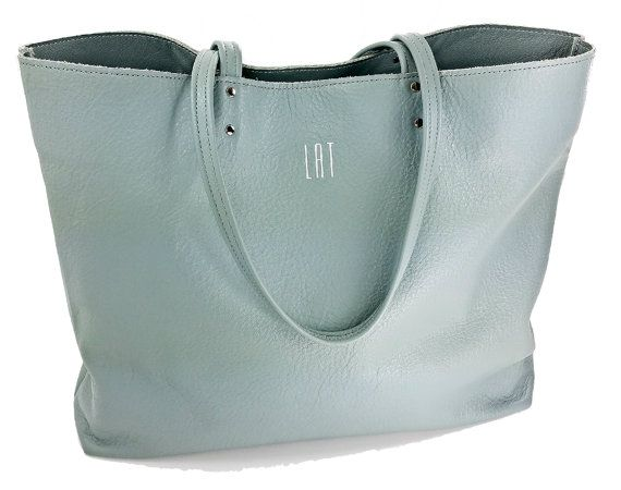 glacier gray tote bag leather tote bridesmaid gift tote with pocket monogrammed - Large Tote Bags