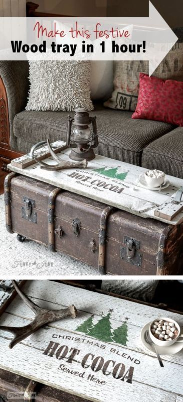 Make festive, reclaimed wood tray in 1 hour! Great gift idea! By Funky junk Interiors for Ebay