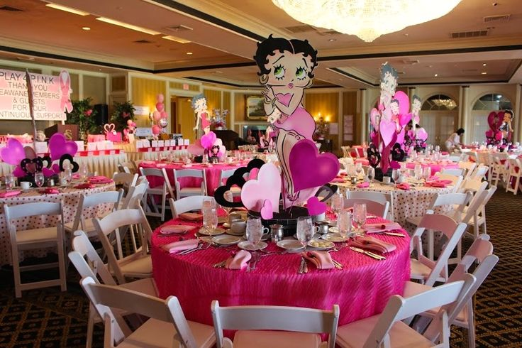 Betty Boop Centerpieces with Hot Pink Linens NYC (Michael Zac Design Group, Premier Skirting) - mazelmoments.com