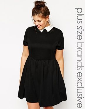 Enlarge New Look Inspire Contrast Collar Skater Dress