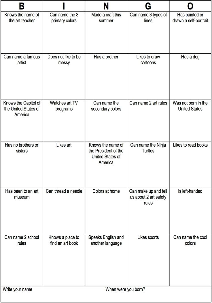 Ice breaker bingo in the artroom.  Could modify for homeschool with art/artist/art history