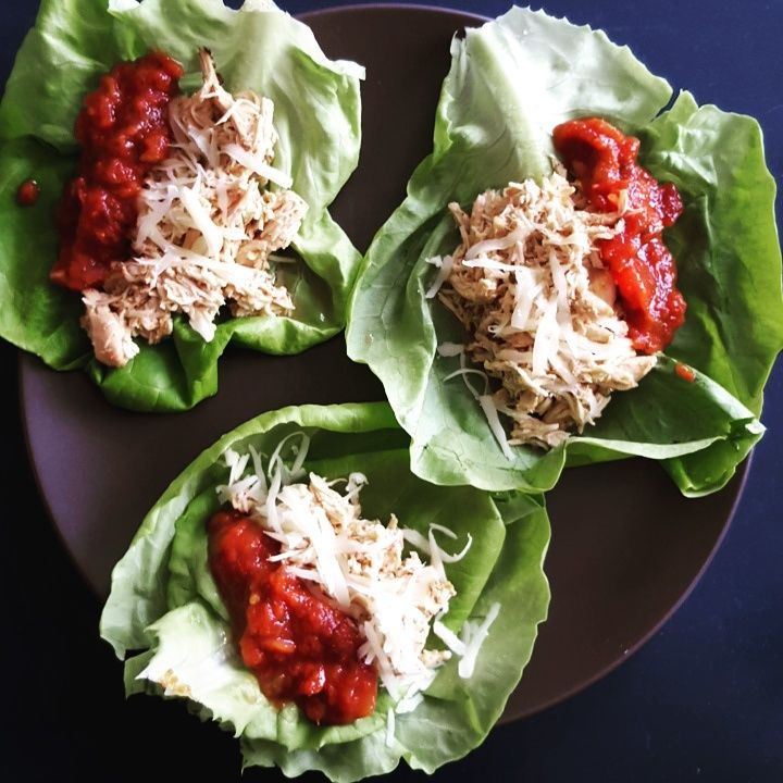 Ranch Taco Chicken Lettuce Wraps  Ingredients  2 chicken breasts 1.5 tablespoons low sodium taco seasoning 1.5 tablespoons powdered ranch dip 1/2 garlic clove 1/4 cup water  Head of butter lettuce (or iceberg) Light cheese Salsa  Instructions  Spray slow cooker with Pam and lay chicken breasts.  In bowl, mix together ranch, taco seasoning, water, and garlic; pour on chicken in slow cooker.  Cook on low for 4 hours, uncover and shred chicken, mix, let sit for 1 more hour.  Lay lettuce wraps…