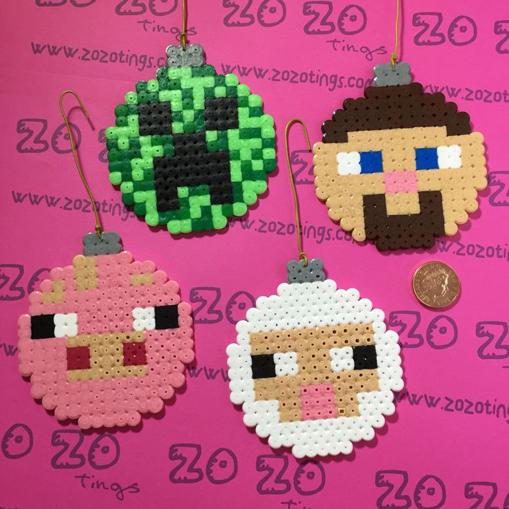 Inspired Christmas Minecraft Perler Baubles by ZoZoTings