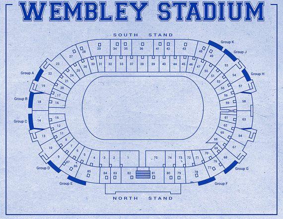 Print of Vintage Style Wembley Stadium Seating Chart by ClavinInc