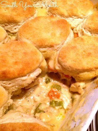 Country Chicken Pie is like a chicken pot pie with buttery biscuits on top! The filling is velvety smooth and delicious and so easy to make! Tip: use frozen biscuits to save time!