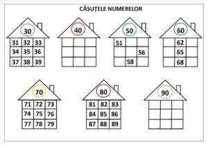 Numerele de la 31 la 100. Căsuțele numerelor